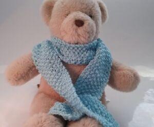 Teddy Bear Clothes, Handmade Blue Knitted Scarf