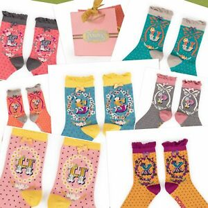 Powder UK Ladies Socks Initial Alphabet A-Z - Bamboo - 26 Letters NEW