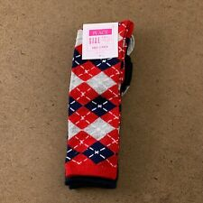 The Children's Place Girls Shoe Size 11-13 Red Blue Argyle Knee Socks 2-Pack NWT