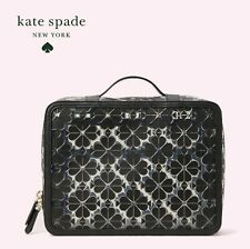 ⭐KATE SPADE Flower BLACK See Through 4 Piece SET COSMETIC Case Bag ~ Brides Gift