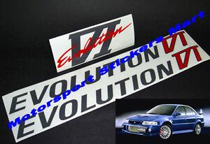 Evolution VI 6 Door & Boot Decal Sticker Set Evo Mitsubishi Ralliart Lancer 4G63
