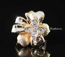 FLOWER FASHION COCKTAIL RING AUSTRIAN RHINESTONE CRYSTAL GOLD GP B1132G SIZE6