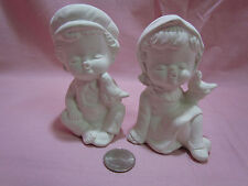 Ceramic Bisque Cute Boy and Girl Children making Kissy faces U Paint Pre-Order