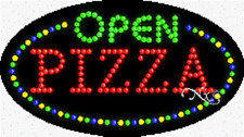 """NEW """"OPEN PIZZA"""" 27x15 OVAL SOLID/ANIMATED LED SIGN w/CUSTOM OPTIONS 24470"""