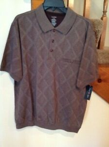 David Taylor Collection NWT Mens Polo Golf Shirt Large L Taupe/Brown Banded