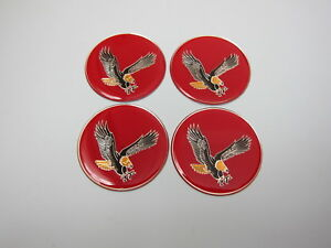 Lowrider hydraulics eagle logo chips for wire wheel rim knock offs red, 4 pack