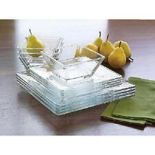 Clear Glass Dinnerware Set 12 Pc Square Dinner Salad Plates Bowls Service for 4