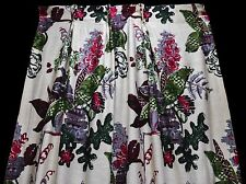 Pair, Midcentury Stylized Floral Curtains, Great Colors, Cotton, Long