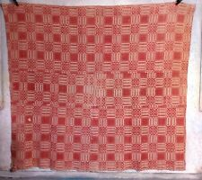 Antique Handwoven Overshot Woven 4 piece Coverlet Christmas Red & Tan Primitive