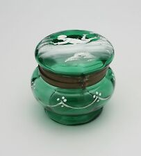 Victorian Green Art Glass Dresser Box with Mary Gregory Style Decoration