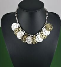 Matte Silver Antique Brass Coin Charms Belcher Chain Choker Statement Necklace