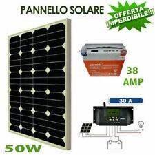 Kit Pannello Fotovoltaico 50W batteria 38amp 12 vlt kit solare Pwm camper barca