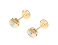 Aretes oro 14k circulo 4Mm circonita niña Stud earring solid gold zirconia girl