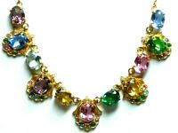 Lovely dainty Vintage 1950s multicoloured glass & rhinestone gold tone necklace