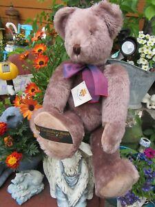 "VINTAGE TEDDY BEAR 24"" PURPLE LILAC GUND CANTERBURY MOHAIR ARTIST TAGS DOMINIQUE"