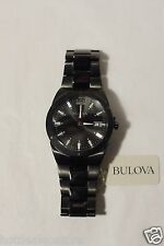 Bulova Mens Black Classic Watch Stainless Steel Band 98B234 Curved Crystal 43mm