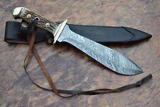 Handmade Damascus Steel Blade Replica PUMA WAIDBLATT KNIFE STAG ANTLER HANDLE
