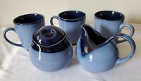 3 Sango Blue Nova 4934 Coffee Cups Creamer and Sugar Bowl