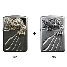 Zippo Lighter A Tiger Claw Emblem Brushed NA+BK Windproof Unique Antique 1+1 SET