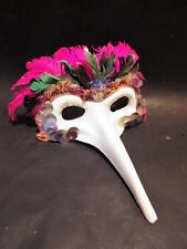 Vintage Mardi Gras Venitian Masquerade Feather Mask Long Nose Beak Glitter