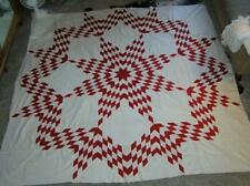 "Patchwork Red and White Texas Star Quilt Top 91"" x 96"" Stunning!"