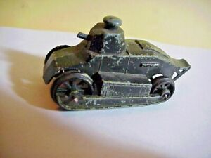 Vintage TOOTSIE TOY Diecast Army Tank - with RARE Black/Green Camo Paint