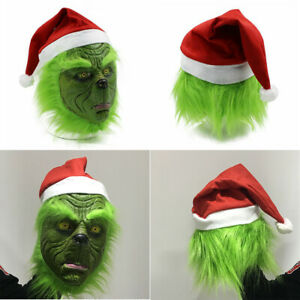 The Grinch Full Head Latex Mask Wig w/Xmas Hat Holloween Monster Costume Party