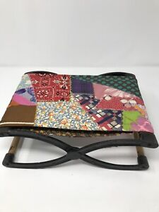 """Antique Victorian Cast Iron Folding Buggy Seat Footstool Quilted 12.5"""" w x 9"""""""