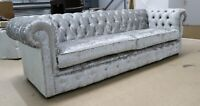 CHESTERFIELD TUFTED BUTTONED 4 SEATER COUCH SILVER GREY VELVET 2 CUSHION STYLE