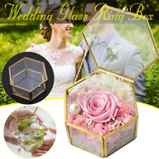 Geometric Wedding Ring Box Glass Ring Pillow Pentagon Geometric Ring Holder