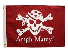 "Arrgh Matey! Pirate Boat Flag 12X18"" New Jolly Roger Jack Rackham"
