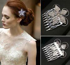 Small Flower Crystal Rhinestone Bridal Tiara Crown Hair Comb Wedding Accessory