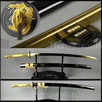Full tang Japanese Samurai Katana FULLY GOLD DRAGON Sword Handmade sharp blade