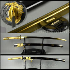 Full tang Japanese Samurai Katana FULLY GOLD DRAGON Sword Handmade sharp blade
