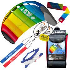 HQ 1.3M 1.3 Symphony Beach III Foil Kite w/ Straps Rainbow + 20' Stunt Tail