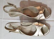 Madeline 8.5M platform gold open toe 4.25 inch heel w/ adj heel strap