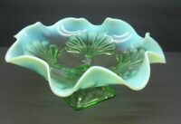 Vintage Jefferson Glass Shell and Dots Green Ruffled Bowl