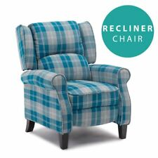 EATON BLUE WING BACK FIRESIDE CHECK FABRIC RECLINER ARMCHAIR SOFA LOUNGE CHAIR