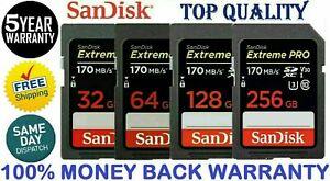 SanDisk Extreme Pro 32GB 64GB 128GB 256GB 170MB/S SD SDXC UHS-I U3 A1 V30
