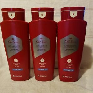 3 OLD SPICE Ultra Smooth BODY & FACE WASH Clean Slate soap 16 fl oz each