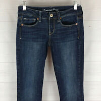 American Eagle womens size 2 short stretch dark wash embellish skinny kick jeans