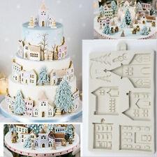 XMAS House Snowman Silicone Fondant Cake Sugarcraft Mold Chocolate Baking Mould