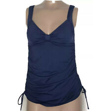 Lands End Princess Ruched Side Tie Tankini Swim Top w Padded Cups Sz: 2L LONG