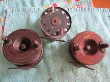 Three old vintage fishing reels