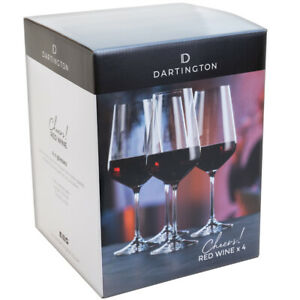Dartington Crystal Red Wine Glasses Cheers! Collection 4 Pack Dishwasher Safe