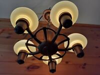 Antique 1920s Art Deco Slip Cup Shade Chandelier Light/Lamp