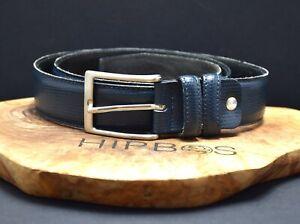 Vintage Handmade Italian Mens Leather Jeans Belt Blue Size 36