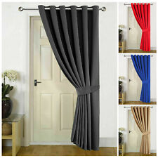 Heavy Thermal Blackout Eyelet Ring Top Ready Made Door Curtains Panel Black Grey