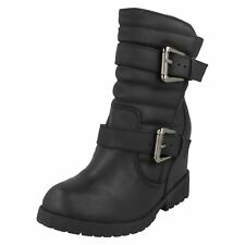 Ladies Spot on Wedge Heel BOOTS Label F50333 Black 5 UK Standard