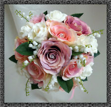 Wedding Flowers,   Brides Posy bouque, dusky pink & ivory/lily of the valley